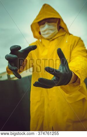 man in a protective suit during a pandemic