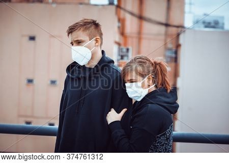 Masked young man with a mask during a pandemic
