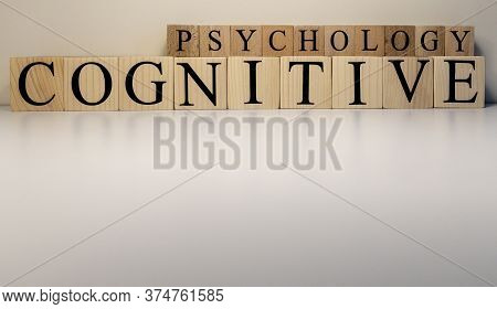 Cognitive Psychology Text From Wooden Cubes. The Term Psychology Profession.