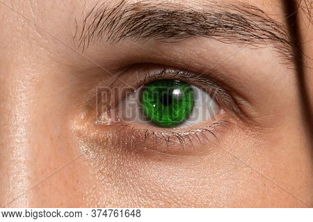 Adult Girls Eye With A Green Lens And Natural Eyebrows. Vision Correction