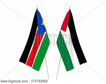 National Fabric Flags Of Palestine And Republic Of South Sudan Isolated On White Background. 3d Rend