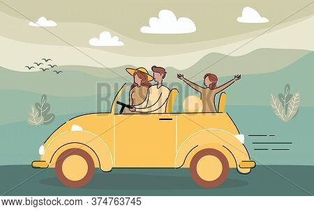 Family, Father, Mother And Daughter Cartoon Characters Traveling By Car Together At Countryside. Aut