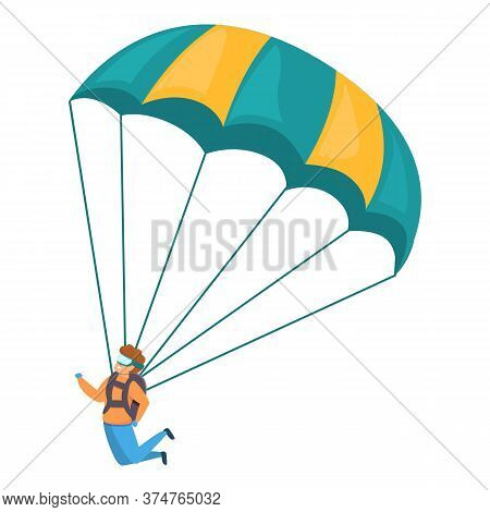 Young Skydiver Icon. Cartoon Of Young Skydiver Vector Icon For Web Design Isolated On White Backgrou