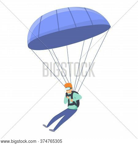 Fall Parachuting Icon. Cartoon Of Fall Parachuting Vector Icon For Web Design Isolated On White Back