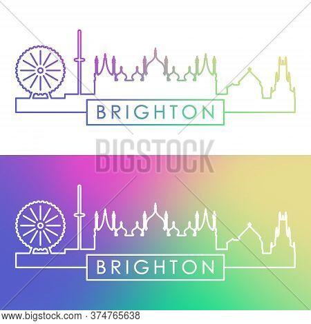 Brighton Skyline. Colorful Linear Style. Editable Vector File.