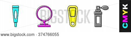 Set Cream Or Lotion Cosmetic Tube, Round Makeup Mirror, Hand Mirror And Perfume Icon. Vector