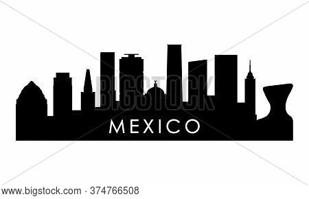 Mexico Skyline Silhouette. Black Mexico City Design Isolated On White Background.