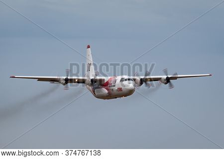 Avalon, Australia - February 27, 2015: Coulson Aviation Lockheed Ec-130q Large Aerial Fire Fighting