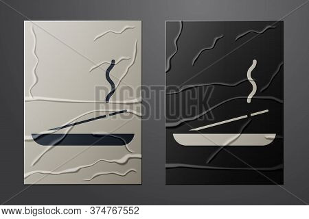 White Scented Spa Stick On A Wooden Stand Icon Isolated On Crumpled Paper Background. Incense Stick.