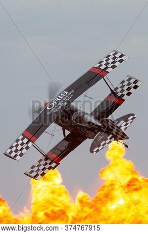Avalon, Australia - February 27, 2015: Aerobatic Pilot Skip Stewart Flying His Highly Modified Pitts
