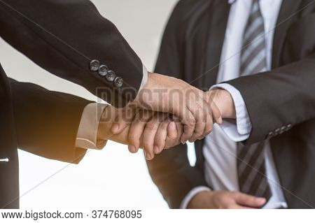 People Holding Hands Consolation Encourage. Boss / Manager Holding Hands Of Employee / Staff And Con