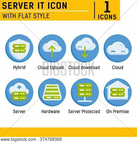 Server It And Technology Icon Set. Vector Icon With Flat Style On Isolated White Background. Server