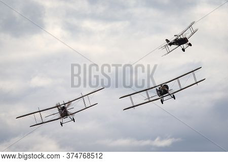 Avalon, Australia - February 27, 2015: Bristol F.2 Fighter (replica) British Two-seat Biplane Fighte