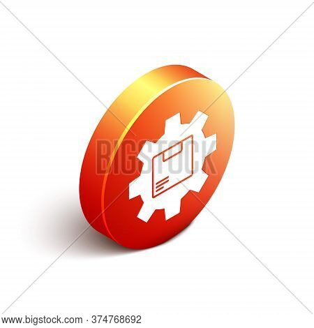 Isometric Gear Wheel With Package Box Icon Isolated On White Background. Box, Package, Parcel Sign.