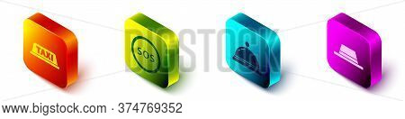 Set Isometric Taxi Car Roof, Location With Sos, Hotel Service Bell And Man Hat With Ribbon Icon. Vec
