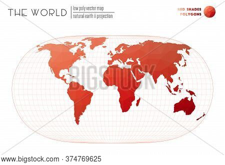 Abstract World Map. Natural Earth Ii Projection Of The World. Red Shades Colored Polygons. Amazing V
