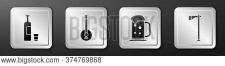 Set Whiskey Bottle And Glass, Banjo, Wooden Beer Mug And Tomahawk Axe Icon. Silver Square Button. Ve