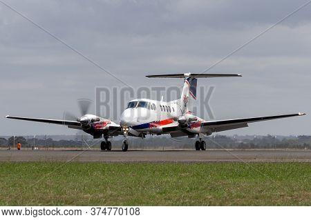 Avalon, Australia - February 26, 2015: Ambulance Victoria Hawker Beechcraft B200c King Air Air Ambul
