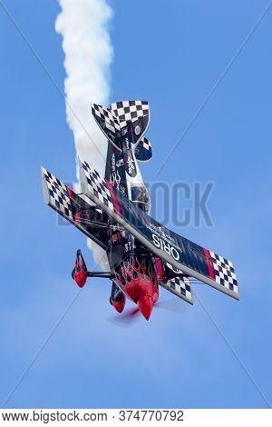 Avalon, Australia - February 26, 2015: Aerobatic Pilot Skip Stewart Flying His Highly Modified Pitts