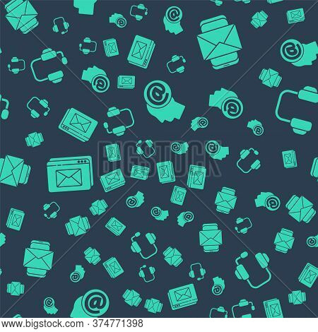 Set Mail And E-mail, Mobile And Envelope, Website And Envelope And Headphones On Seamless Pattern. V