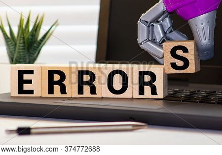 Error Word Written On Cube Shape Wooden Blocks On Wooden Table.