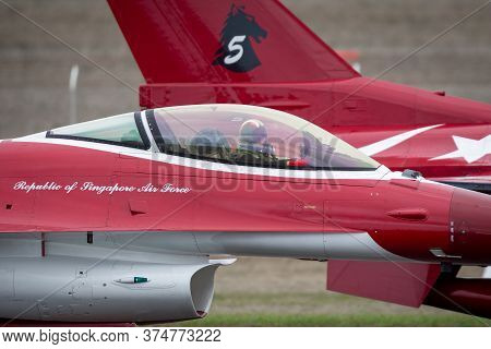 Avalon, Australia - February 24, 2015: Republic Of Singapore Air Force (rsaf) Lockheed Martin F-16cj