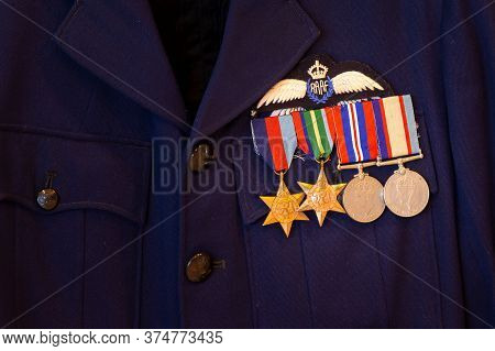 Avalon, Australia - February 24, 2015: Four World War Ii Service Medals On A Royal Australian Air Fo