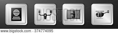 Set Passport, Aircraft Steering Helm, Airport Board And Helicopter Icon. Silver Square Button. Vecto