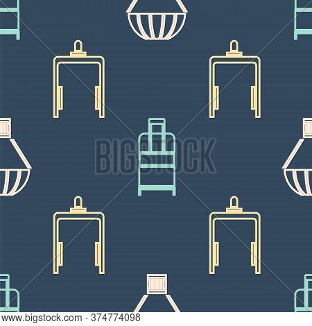 Set Isometric Box Flying On Parachute, Metal Detector In Airport And Suitcase Icon. Vector