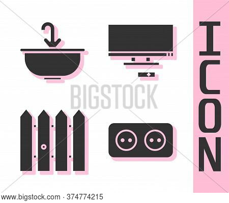 Set Electrical Outlet, Washbasin With Water Tap, Garden Fence Wooden And Smart Tv Icon. Vector