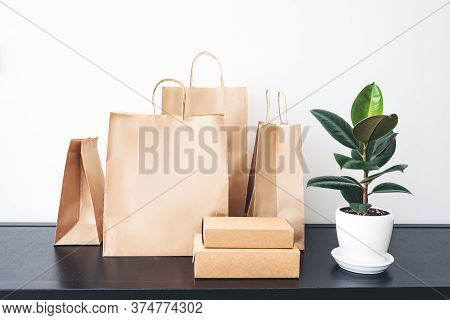 Craft Paper Eco-friendly  Bags And Boxes For Shopping Or Lunch Set With Green Plant In A Pot . Conce