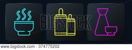 Set Line Chinese Tea Ceremony, Chinese Tea Ceremony And Firework. Black Square Button. Vector
