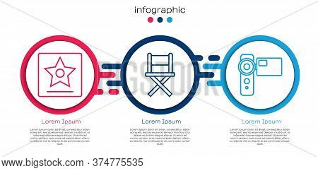 Set Line Hollywood Walk Of Fame Star, Director Movie Chair And Cinema Camera. Business Infographic T