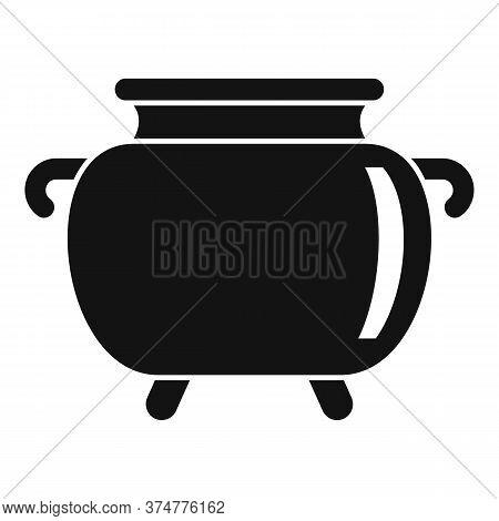 Medicinal Herbs Cauldron Icon. Simple Illustration Of Medicinal Herbs Cauldron Vector Icon For Web D