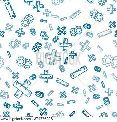 Set Line Crossed Ruler, Ruler And Gear On Seamless Pattern. Vector