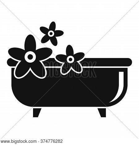 Medicinal Herbs Bathtub Icon. Simple Illustration Of Medicinal Herbs Bathtub Vector Icon For Web Des