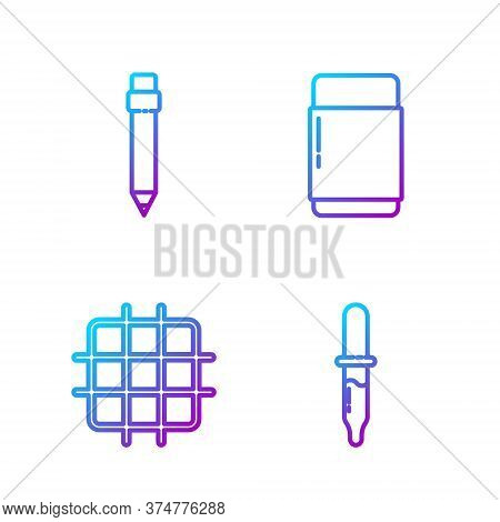 Set Line Pipette, Grid Graph Paper, Pencil With Eraser And Eraser Or Rubber. Gradient Color Icons. V
