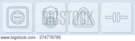 Set Line Electrical Outlet, Exclamation Mark In Triangle, Electrical Outlet And Electric Circuit Sch