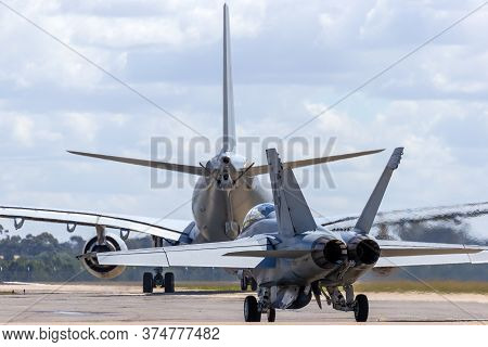 Avalon, Australia - March 1, 2015: Royal Australian Air Force Boeing F/a-18f Super Hornet Taxiing Be
