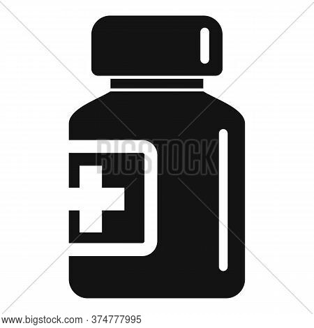 Glass Pill Jar Icon. Simple Illustration Of Glass Pill Jar Vector Icon For Web Design Isolated On Wh
