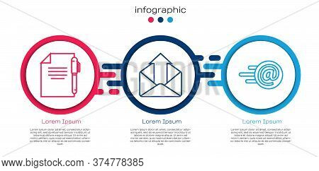 Set Line Document And Pen, Outgoing Mail And Mail And E-mail. Business Infographic Template. Vector