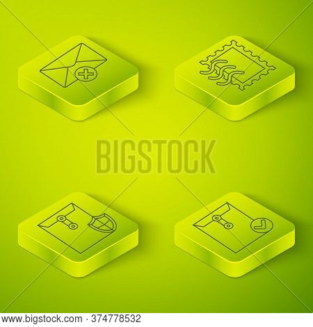 Set Isometric Postal Stamp, Envelope With Shield, Envelope And Check Mark And Delete Envelope Icon.