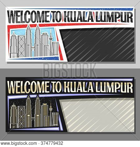 Vector Layouts For Kuala Lumpur, Decorative Voucher With Illustration Of Modern Kuala Lumpur City Sc