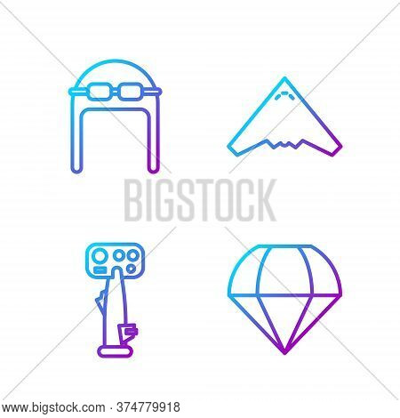 Set Line Parachute, Aircraft Steering Helm, Aviator Hat With Goggles And Jet Fighter. Gradient Color