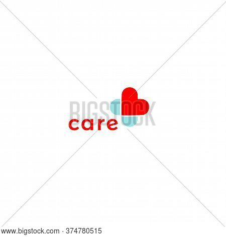 Cross From A Red Heart Medical Logo Concept, Care And Health Symbol. Logo Template For Nursing Homes