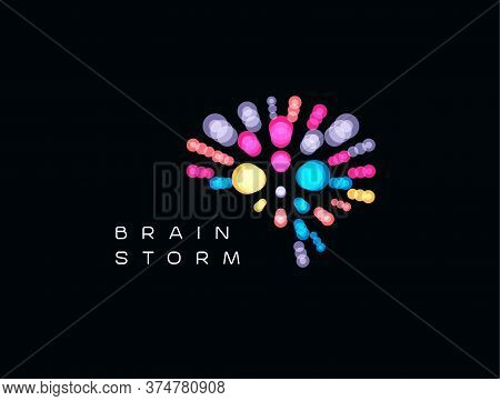 Brainstorming Event Logo. Brain Logotype. Mind Blowing Ideas Icon. Creative Thinking Sign. Isolated
