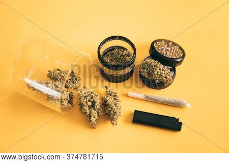 Indica Medical Health. Sativa Thc Cbd. The Pot Leaves On Buds. Joint Weed. Marijuana Weed Bud And Gr