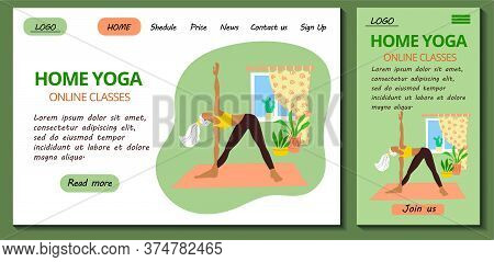 Web Page And App Mobile Design Template For Online Yoga And Meditation Classes. Pretty Girl In Track