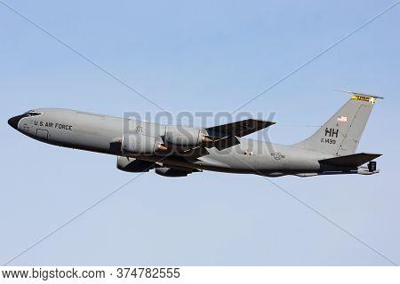 Avalon, Australia - March 2, 2015: United States Air Force (usaf) Boeing Kc-135r Stratotanker Aerial