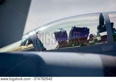 Avalon, Australia - March 1, 2015: Royal Australian Air Force (raaf) Pilot In The Cockpit Of A Boein